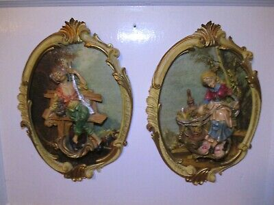 Vintage Italian Pair Of Wall Plaques W 3D Figural Raised Old Man & Women - Rare!