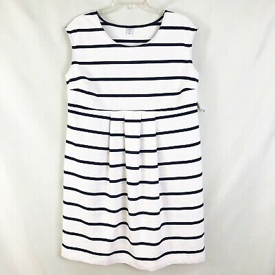Old Navy White Blue Striped Maternity Dress Sz Large NWT