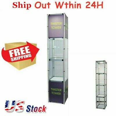 "81.1"" Square Portable Aluminum Spiral Tower Display Case Shelves Light Panels"