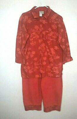 Cold Water Creek Womens Size Medium 2 Piece Outfit Set Lounge Wear Comfort Red