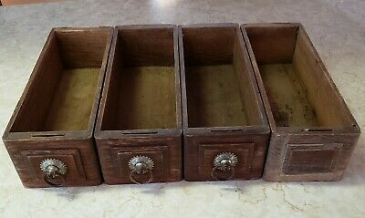 4 Vintage Treadle Sewing Machine Cabinet Drawers Antique Oak Ornate