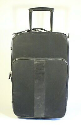 """Coach Black Leather & Nylon 22"""" Upright Roller Carry On Suitcase Luggage G1R5955"""