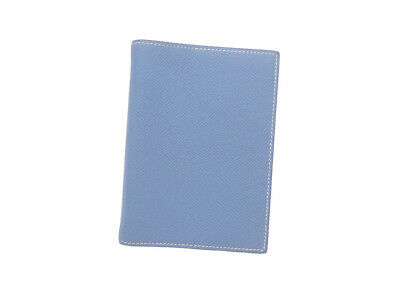 Auth HERMES Square J (2006) Note/Agenda Cover Blue Leather - e44290e