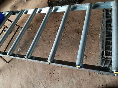 800mm WIDE X 2m LONG SECTIONS OF 50mm DIA STEEL GRAVITY ROLLER TRACK USED