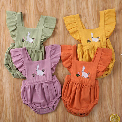 Easter Bunny Clothes Newborn Kids Baby Girl Romper Bodysuit Playsuit Outfits Set