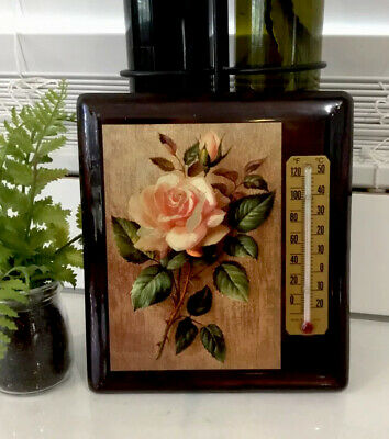 VINTAGE 70s WALL THERMOMETER ROSES WOODEN PLAQUE AUSTRALIA MADE