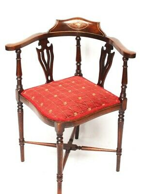 Antique Edwardian Marquetry Inlaid Mahogany Corner Chair [5967]