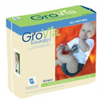 GroVia Disposable BioSoaker Pad for Baby Cloth Diapering 50 Count