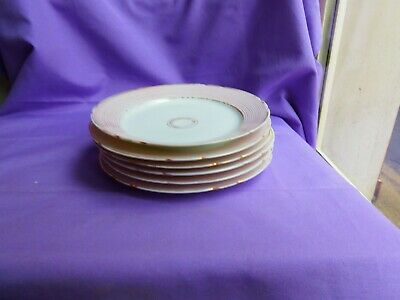 RARE 6 PETITES ASSIETTES PORCELAINE DE PARIS 19e DECOR ROSE ET FILETS OR