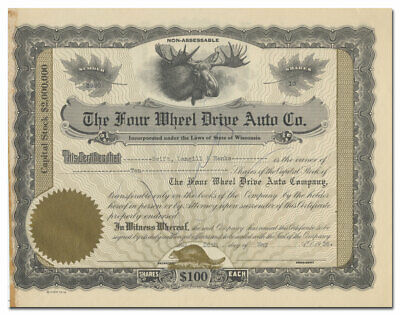 Four Wheel Drive Auto Co. Stock Certificate