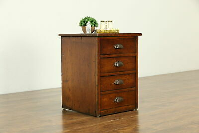 Oak Rustic Antique 1900 File, Nightstand, End or Lamp Table #33141