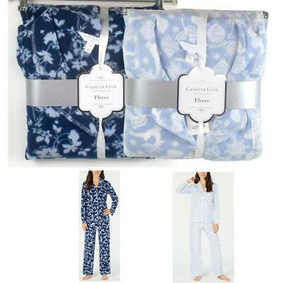 Charter Club Womens 2 pc Printed Fleece Pajama Set Choose Size & Color New