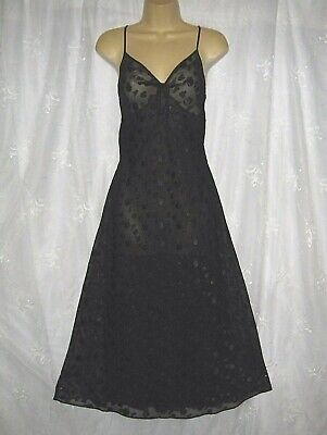 New Jones New York Gorgeous Black Semi Sheer Lined Maxi Negligee Lingerie Small
