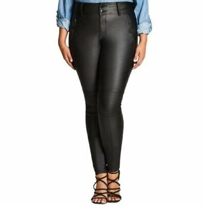 City Chic Skylar High Rise Coated Skinny Jeans w/PIntuck Detail - Plus Size 24