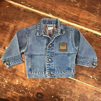 Vintage Little Levis Toddler Boys 2T Denim Jean Jacket 80s 90s Striped Lining