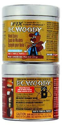 PC Products PC-Woody Wood Repair Epoxy Paste, Two-Part 6oz in Two Cans, Tan