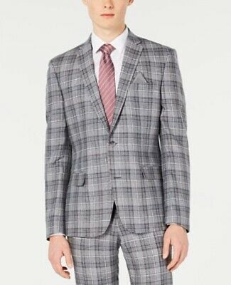 Bar III Men's Slim-Fit Linen Gray Plaid Suit Jacket, Created for Macy's - 44R