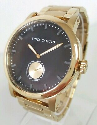 Vince Camuto The Cadet VC/1109BKGP Men's 44mm Gold Tone S/Steel Watch    **NWT**