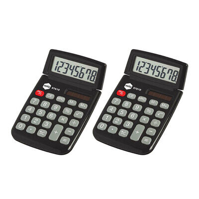 2PK Marbig Dual Solar Powered 8 Digit Pocket Handheld Calculator Office Black