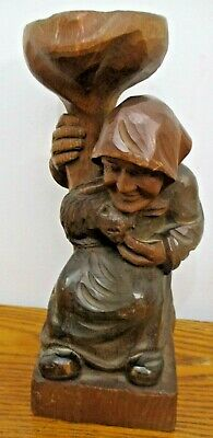 "Vintage Hand Carved Wooden Old Lady With Cat Candle Holder. 9.5"" Tall"