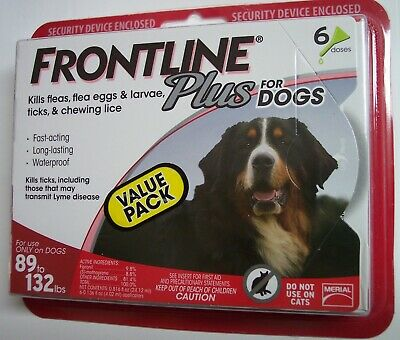 Frontline Plus, Extra Large Dogs 89 to 132 lbs (6 Dose, Flea & Tick Treatment)