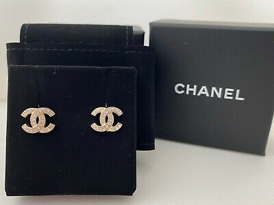 Authentic Chanel Classic CC Logo Stud Gold Crystal Earrings Small