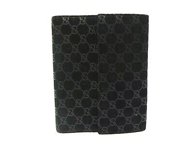 Authentic Gucci Day Planners Agenda Notebook cover Black Suede