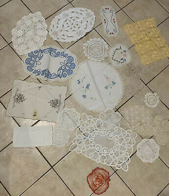 Lot Vintage Doilies Linens Hand Embroidered Lace And Cloths - Lot 2