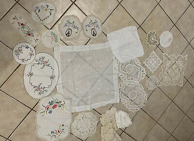 Lot Vintage Doilies Linens Hand Embroidered Lace And Cloths - Lot 3