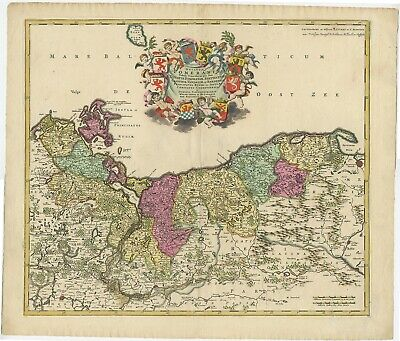 Antique Map of Pomerania by Covens & Mortier (c.1730)