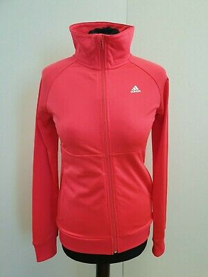O101 Girls Adidas Pink White Sleeve Full Zip Tracksuit Top Age 13-14 Years