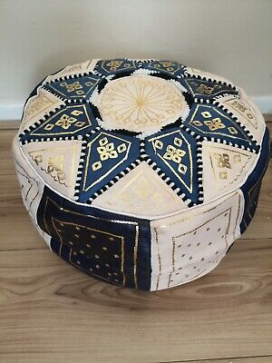 Moroccan pouffe Leather Footstool seating ottoman poufe pouf New Blue Cream