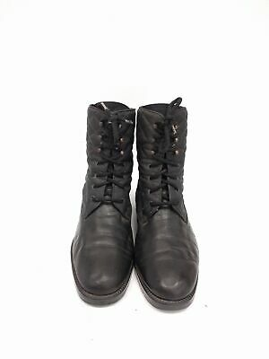 Size 40 Vintage Ladies Black Rock Grunge Quilted leather lace up ankle boots
