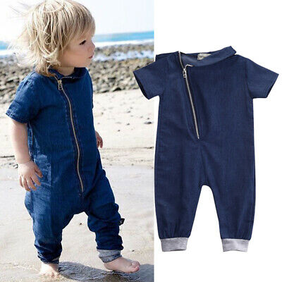 AU Stock Toddler Kids Denim Romper Fashion Baby Boy Girl Jumpsuit Outfit Clothes