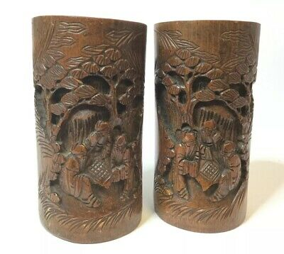 Antique 19th Century Pair Chinese bamboo brush pots, carved, figures