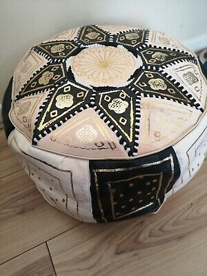 Moroccan pouffe Leather Footstool seating ottoman poufe New Black Cream