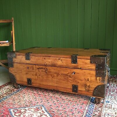 ANTIQUE Campaign CHEST Old Industrial TRUNK Coffee Table Rustic Wooden BOX + Key