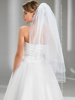 Wedding Ivory or White Bridal Fingertip Veil Pencil Edge Comb Attached W-72