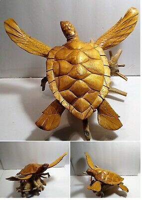 "VTG Hand Carved Wooden Sea Turtle on Driftwood LARGE 14"" x 14"" Beautiful Detail"