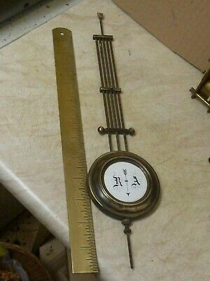 Good Old-Antique Gridiron Wall Clock Enamel R-A Pendulum  (En)