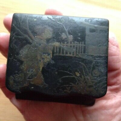 Antique Chinese Paper Mache Laquered Handpainted Match Box