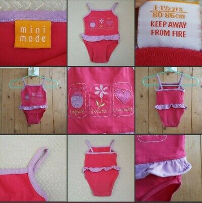 *Used* Lovely Little Girls Pink Fabric Swim Costume ♡MINI MODE♡ Age 1-1.5 Years