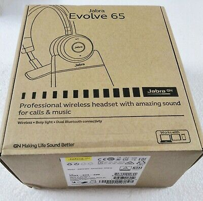 Jabra Evolve 65+ UC Mono Wireless Headset / Music Headphones