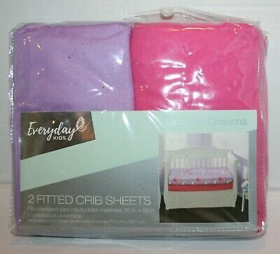 Everyday Kids Fitted Polyester Crib/Toddler Sheets - Pink/Lavender 2pk