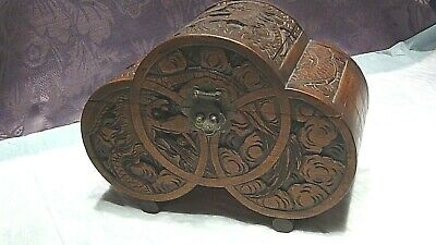 Antique Chinese Camphor Wood Carved Relief Dragon Storage Box Brass Decoration