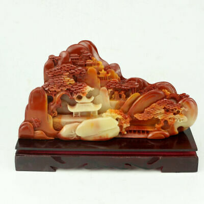 2020 hot Collect Chinese Hand-Carved Shoushan Stone scenery figure Statue