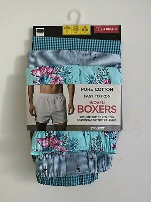 Mens 3 Pack Cotton Boxer Shorts Button Fly Fastening Blue Mix NEW Ex M&S RRP £18