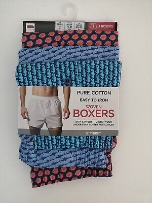 Mens 3 Pack Cotton Boxers Button Fly Fastening Sea Life Print NEW Ex M&S RRP £18