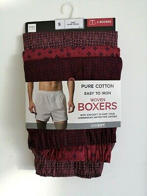 Mens 3 Pack Cotton Boxers Button Fly Fastening Burgundy Mix NEW Ex M&S RRP £18