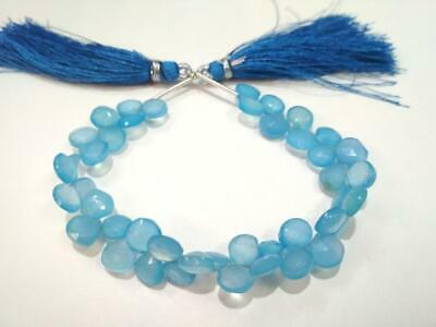 """1 Strand Natural Blue Chalcedony Heart Briolette Faceted 7-8mm 6""""Inch Beads"""